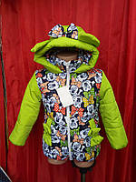 Теплая демисезонная куртка Микки Маус бантик р.98-116 для девочек подкладка флис