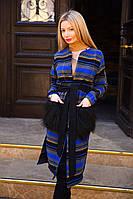"""Удлиненное женское кашемировое пальто в полоску """"Piper"""" с мехом на карманах (4 цвета)"""