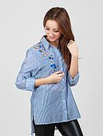 Женская полосатая рубашка с удлиненной спинкой