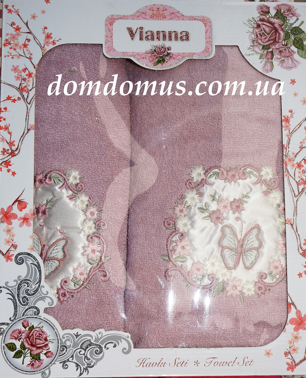 """Подарочный набор махровых полотенец 3D """"Бабочка"""" Vianna"""