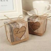"""Бонбоньерки крафтовые """"Love"""", оригинальные коробочки для конфет на свадьбу"""