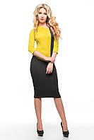 Эффектное женское платье SO-14079-MSD горчица ТМ Alpama 48-54 размеры