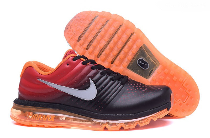 Мужские кроссовки Nike Air Max 2017 Leather черно-красные кожанные
