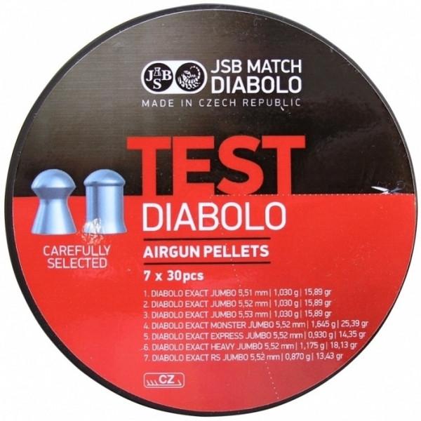 Пули пневматические JSB Exact Test, 210 шт/уп, 5,5 мм 7 вариантов по 30 шт
