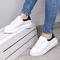 Кроссовки женские Queen Collection белые с черным, спортивная обувь