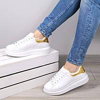 Кроссовки женские Queen Collection белые с золотом, спортивная обувь
