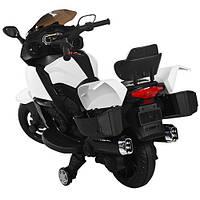 """Детский электромотоцикл BAMBI """"Ямаха"""" высокая спинка, 2 багажника, мягкое сидение, учебные колесики"""