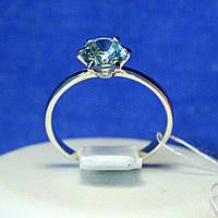 Серебряное кольцо с голубым камнем циркония 1065