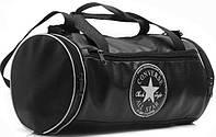 Кожаная спортивная сумка бочка Converse черный  реплика, фото 1