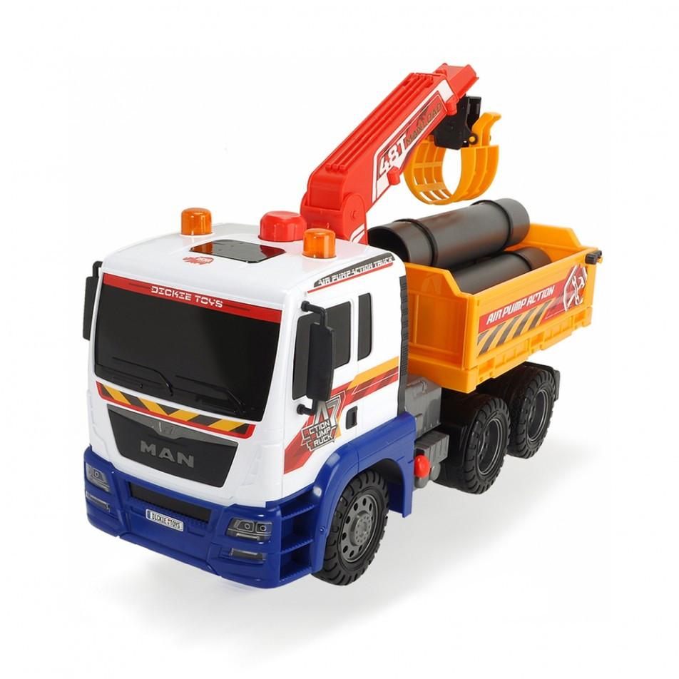 Вантажний автомобіль з повітряною помпою, краном і відкидним кузовом, 46 см «Dickie Toys» (3809005)
