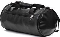 Cпортивная кожаная сумка бочка черный, фото 1