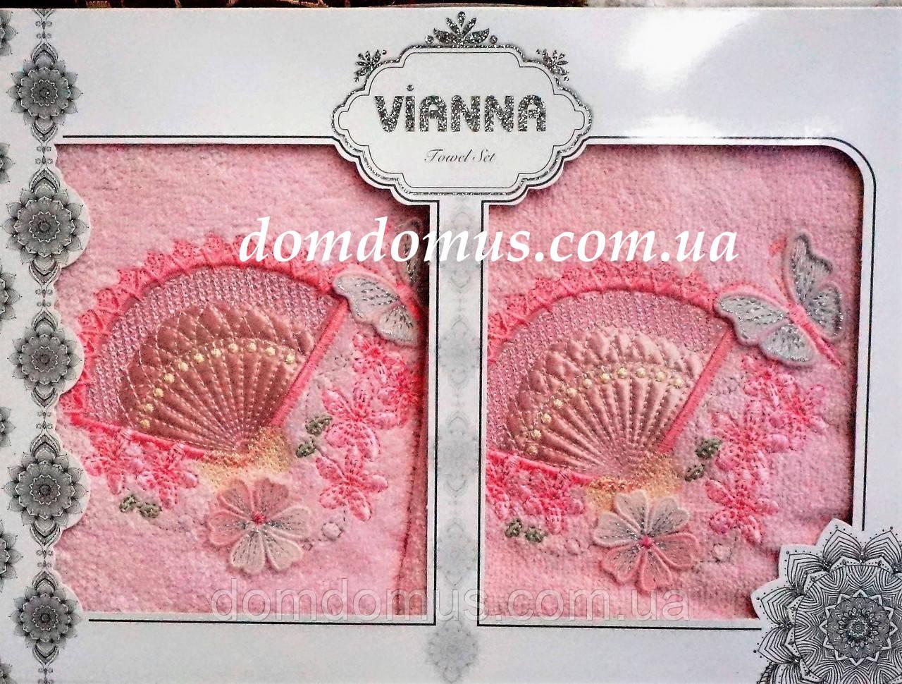 """Набір махрових рушників 3D """"Метелик"""" Vianna ( особа+серветка), рожевий"""