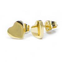 Серьги-гвоздики Сердце, Нержавеющая Сталь, Цвет: Золото, Размер: 8.5х7х1.5мм, Штифт: 0.8мм, (УТ100006389)