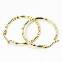 Серьги-кольца из Нержавеющей Стали, Французская застежка, Цвет: Золото, Размер: 34.5x2мм, Штифт: 1х0.5мм, (УТ100006301)