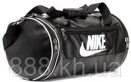 Кожаная сумка бочка Nike черный, спортивная сумка для тренировок реплика