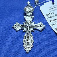 Большой нательный серебряный крест с короной 2013а, фото 1