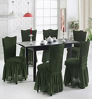 Чехлы на стулья с рюшем! Набор 6 штук. Цвет зеленый