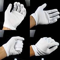 Перчатки для официанта трикотажные белые, 12пар/уп