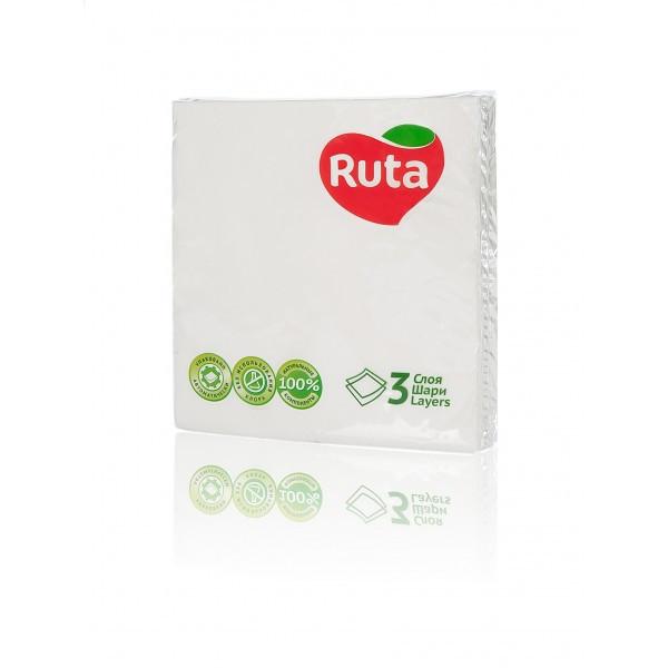Салфетка бумажная 3-х слойная 33х33 см., 20 шт/уп белая РУТА