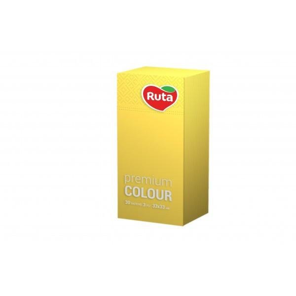 Салфетка бумажная 1/8 сложение в боксе 3-х слойная 33х33 см., 30 шт/уп желтая РУТА Premium