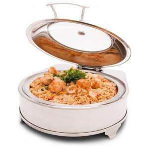 Мармит (чафиндиш) электрический для вторых блюд 5 л. со стеклянной инерционной крышкой круглый