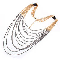 Подвеска на шею с великолепными золотыми цепочками переходящие в серебряные