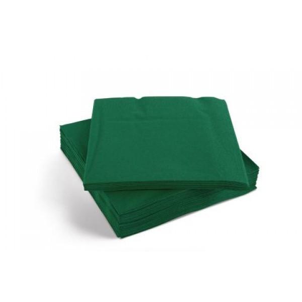 Салфетка бумажная 3-х слойная 16,5х16,5/33х33 см., 20 шт/уп темно-зеленая Decor, SILKEN