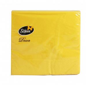Салфетка бумажная 3-х слойная 33х33 см., 20 шт/уп желтая Silken