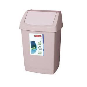 Ведро мусорное пластиковое с вращающейся крышкой, 50 л. 38,5х33,5х63,5 см.