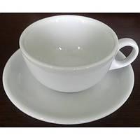Чашка с блюдцем 320 мл. для капуччино, белая, фарфоровая Alt Porcelain