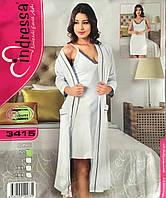 Турецкий трикотажный комплект халат и ночная рубашка