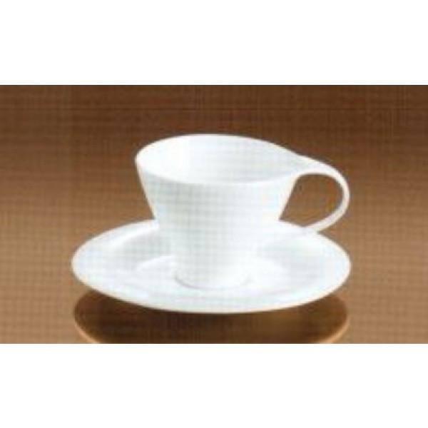 Чашка с блюдцем 200 мл. фарфоровая, белая Alt Porcelain