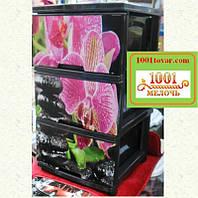 Комод пластиковый Алеана на 3 ящика, с рисунком Орхидея, под заказ
