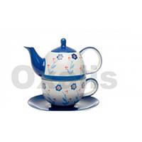 Чайник заварочный с чашкой фарфоровый 350 мл. голубой Oxalis
