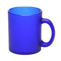 Чашка Фрозен стеклянная матовая - 300 мл, от 10 штук синяя