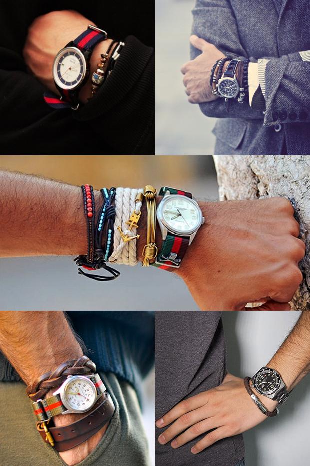 Сочетание часов и браслетов на одной руке