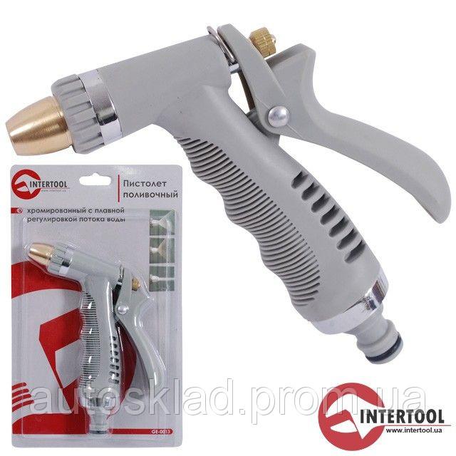 Пистолет-распылитель поливной Intertool GE-0013 хромированный, плавная регулировка потока воды