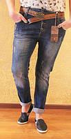 Молодежные женские джинсы-бойфренды  с потертостями, полубаталы, Турция