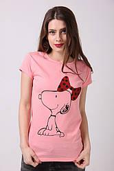 Молодежная розовая футболка с принтом собачка