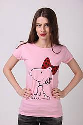 """Качественная женская футболка нежно розового цвета с принтом """"собачка с бантиком"""""""