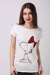 Женская футболка цвета мокко, с принтом собачка, от производителя