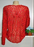 Блуза женская  на пуговицах гипюровая длиный рукав, фото 1