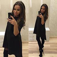 Стильное женское  черное платье свободного фасона. Арт-2030/50
