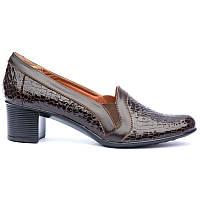 Туфли из натуральной лаковой кожи - рептилия, цвет темно коричневый