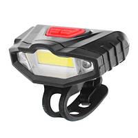 Велофонарь аккумуляторный светодиодный KK-901: COB + 2LED, встроенный аккумулятор, USB шнур