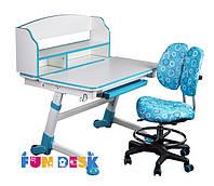 Детская парта для дома FunDesk Volare II Blue + Детское кресло SST6 Blue