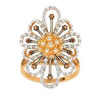 Золотое кольцо с фианитами Фрезия