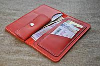 Кожаный кошелек из натуральной кожи красного цвета ручной работы