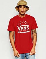 Футболка мужская красная с принтом ванс,vans