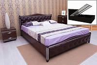 """Кровать """"Прованс""""  с патиной и фрезеровкой мягкая спинка ромбы"""
